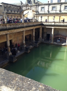 """The main """"pool"""" in the baths. Originally this was under a high vaulted ceiling but is now open to the sky. This would be where women and men could hang out together and relax."""