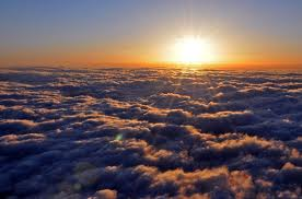 Dawn, heading into the sun, England a mere hour away....