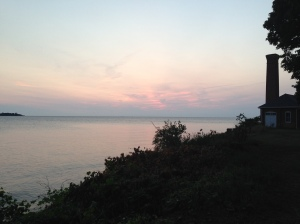 Lake Erie at sunset from the grove on Middle Bass Island.