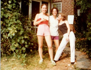 Me, Molly, and our friend Bridget, outside the Cottage-of-Many-Parties.