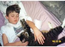 Boy + cat + sleep