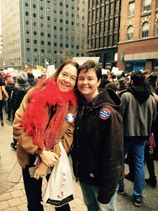 Me with my daughter on 42nd Street amidst the throng.